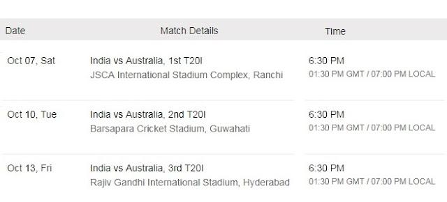 India v Australia T20 Series Fixture