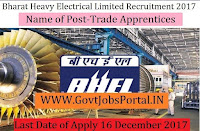Bharat Heavy Electricals Limited Recruitment 2017– Trade Apprentices