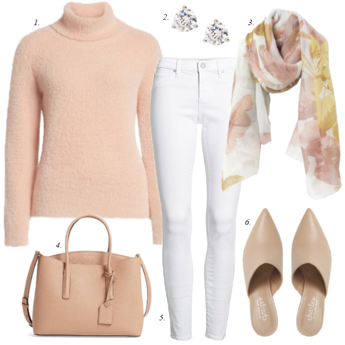 white skinny jeans, blush pink sweater, kate spade satchel, floral scarf