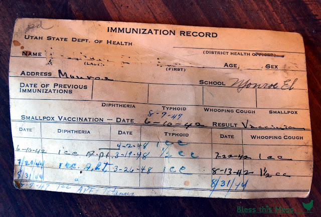 Image result for 1950s immunization record