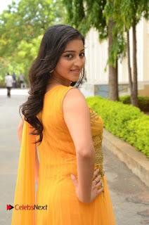 Actress Mouryani Pictures in Yellow Long Dress at Ardhanaari Teaser Launch  0068