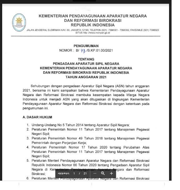 Lowongan Kerja Kementerian Pemberdayagunaan Aparatur Negara dan Reformasi Birokrasi Tahun Anggaran 2021