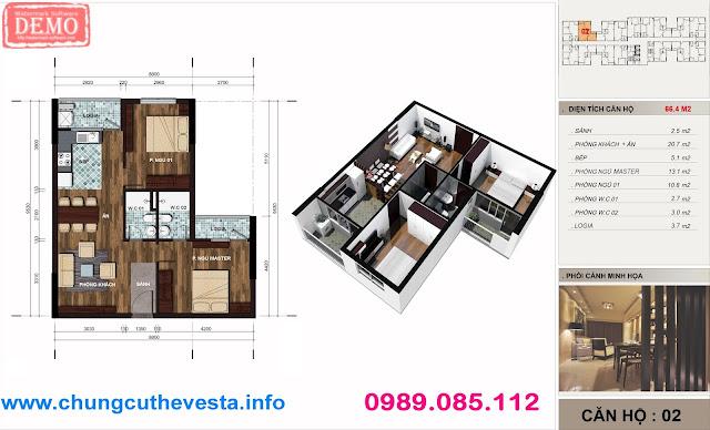 Thiết kế căn hộ 2PN diện tích 66m2