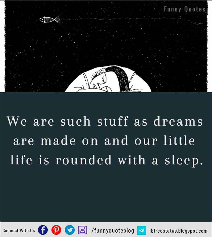 We are such stuff as dreams are made on and our little life is rounded with a sleep.