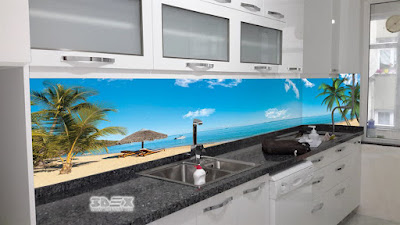 3D kitchen backsplash mural on glass panel