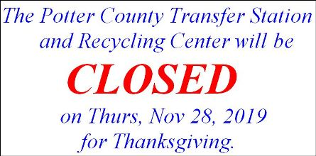 11-28 Potter County Transfer Station CLOSED