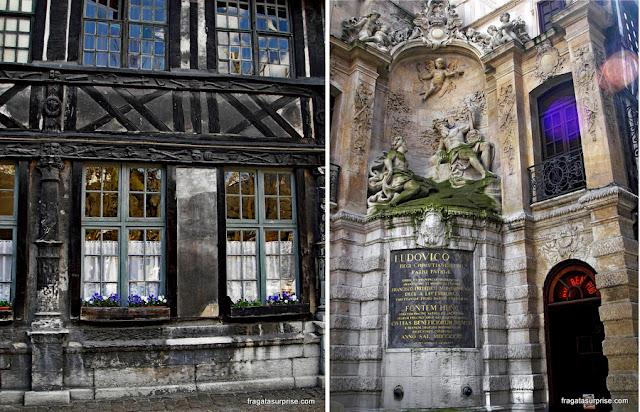 Rouen, França: Aitre de Saint Maclou e o Grosse Horloge, um relógio astronômico do Século 14