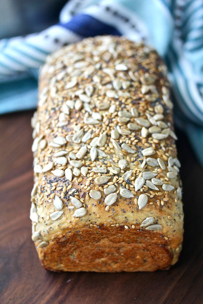 Multi-seed and grain honey bread with sesame, poppy, and flax seeds