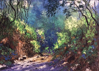 Soft pastel painting of a scene from Karnala Bird Sanctuary by Manju Panchal