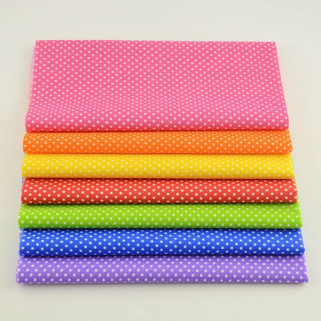 Booksew Mini White Dots 7PCS 100% Cotton Plain Fabric Curtain Home Textiles Patchwork Tela Tecido Quilting Meter