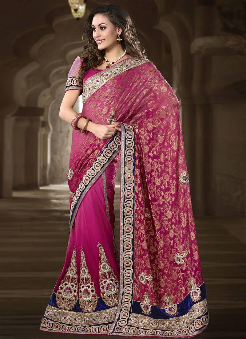 Pink Saree: Pink And Purple Exclusive Saree Designs