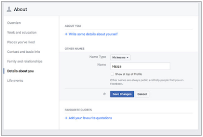 How to change name on Facebook profile