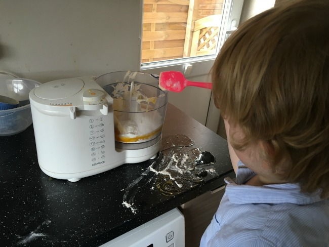 How-to-make--cup-cakes-with-a-toddler-putting-ingredients-into-processore-lots-of-mess-on-the-worktop