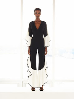 2017 Cruise Collection Jonathan Simkhai black jumpsuit with white ruffle hem and sleeves