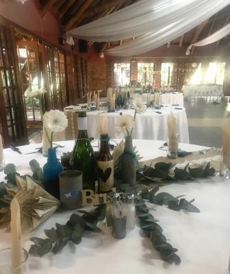 Rustic wedding decorations inside hall