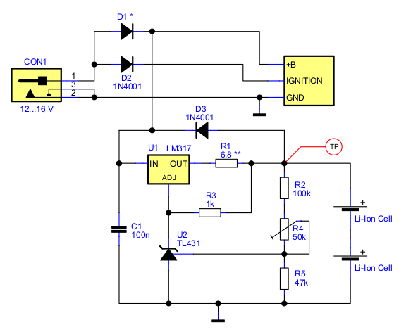 Car audio Battery backup circuit with 2 Li-Ion cells