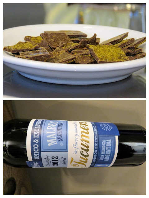 Chocolate dusted in curry powder and a bottle of wine from Bodega Budeguer near Mendoza Argentina