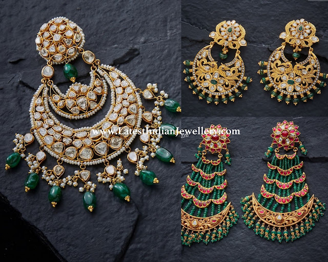 Cocktail Emerald Chandbali Earrings