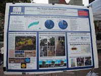 A close up image of the information on methane escape in Boston. (Photo Credit: Sayaka Yamaki) Click to Enlarge.