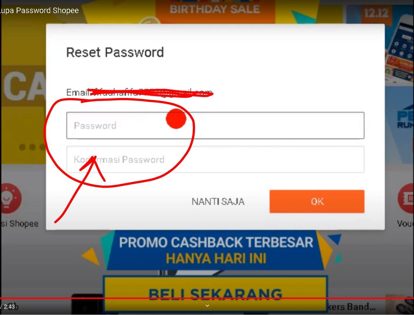 buat password baru Shopee