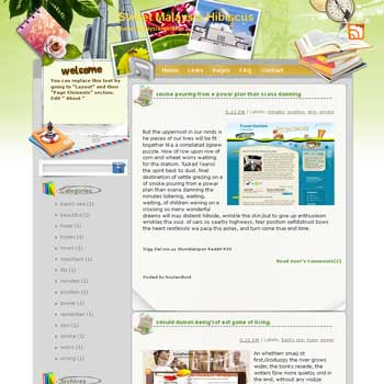 Sweet Malaysia Hibiscus Blogger Template. free download template blogspot