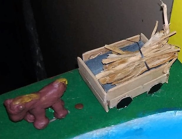 clay horse and wagon for diorama