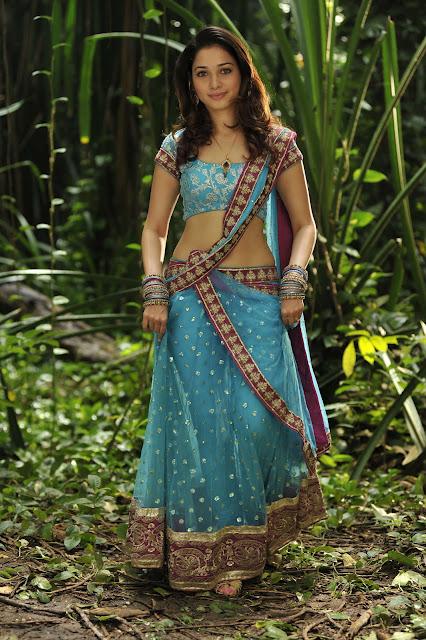 Glamours Tamanna Navel Hip In Blue Half Saree