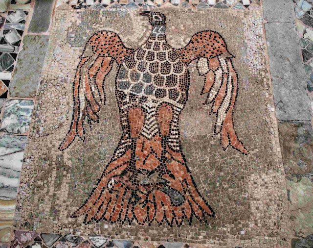Mosaic of an eagle holding a small bird in its talons, Santi Maria e Donato, Murano