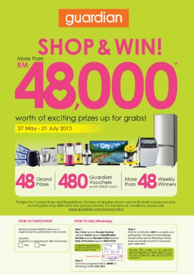 The GUARDIAN 48TH ANNIVERSARY SHOP & WIN CONTEST: More than RM48,000