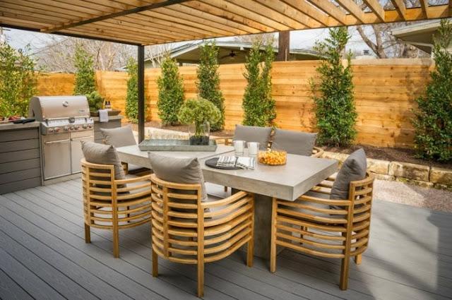 Contoh desain taman minimalis musim dingin dengan tempat makan