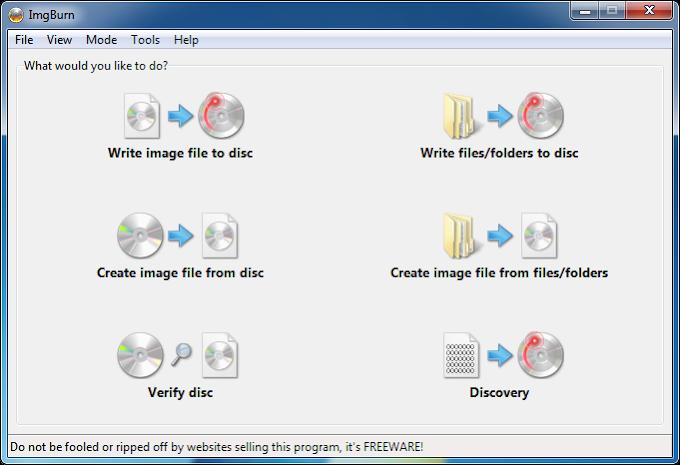 ImgBurn 2.5.8.0 - Δωρεάν πρόγραμμα για να αντιγράφετε δίσκους CD/DVD