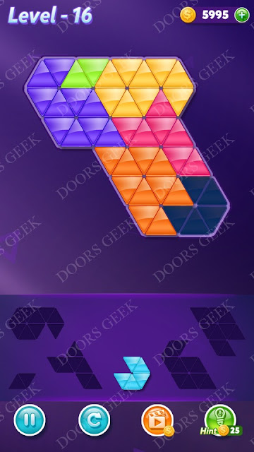 Block! Triangle Puzzle Intermediate Level 16 Solution, Cheats, Walkthrough for Android, iPhone, iPad and iPod