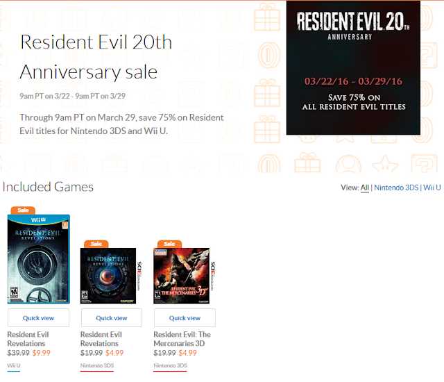 Resident Evil 20th anniversary sale Nintendo eShop Revelations The Mercenaries 3D