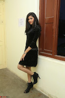 Mounika in a velvet short black dress for Tick Tack Movie Press Meet March 2017 032.JPG