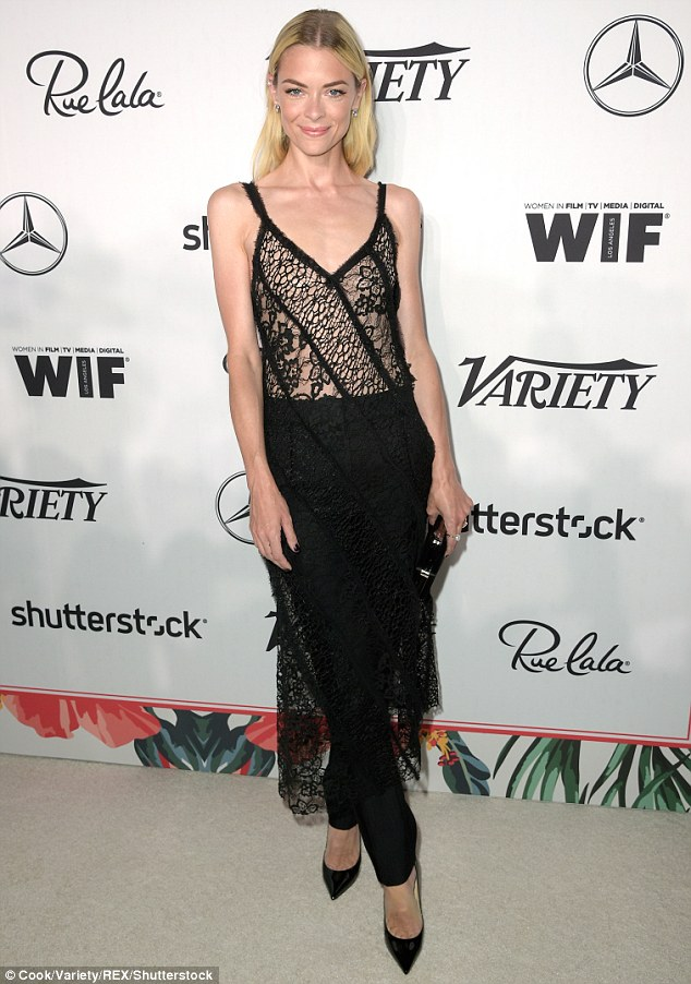 Jaime King goes sheer in black lingerie-style layover and trousers for pre-Emmys party
