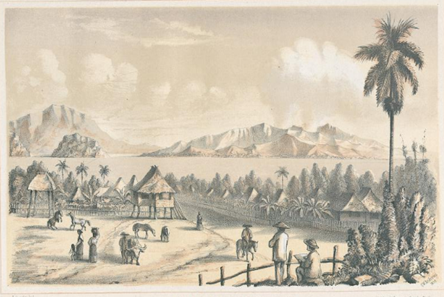 Sketch of Taal Lake and Volcano as seen from Talisay, c. 1859.