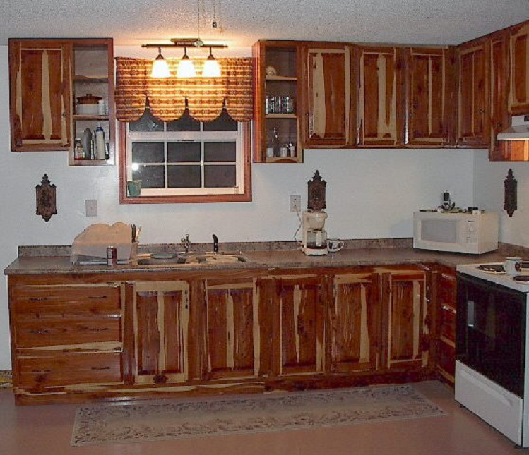 custom cedar kitchen cabinets