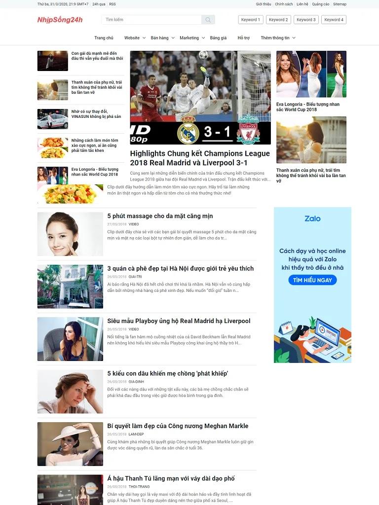 Template blogspot blog tin tức đẹp chuẩn seo load nhanh
