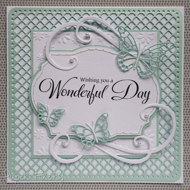 Elegant die cut card with large sentiment and butterflies