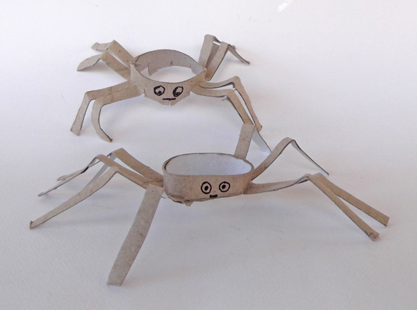 recycled art, recycled crafts, toilet paper roll crafts, toilet paper tube crafts, kids crafts, spider crafts, paper spiders, how to make spiders, cardboard spiders, toy spiders