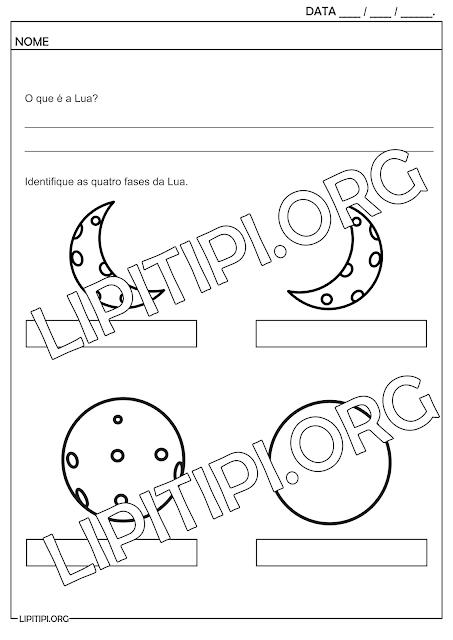 Atividade Fases da Lua Identificar
