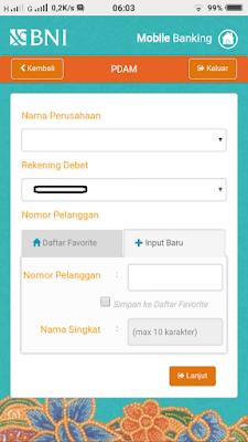 Bayar Tagihan PDAM Lewat BNI Mobile Banking