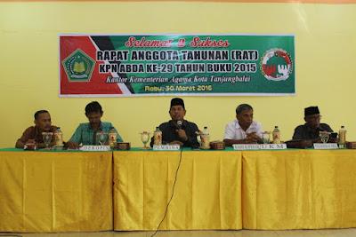 Kemenag Tanjungbalai Gelar RAT KPN ABDA Tahun Buku 2015