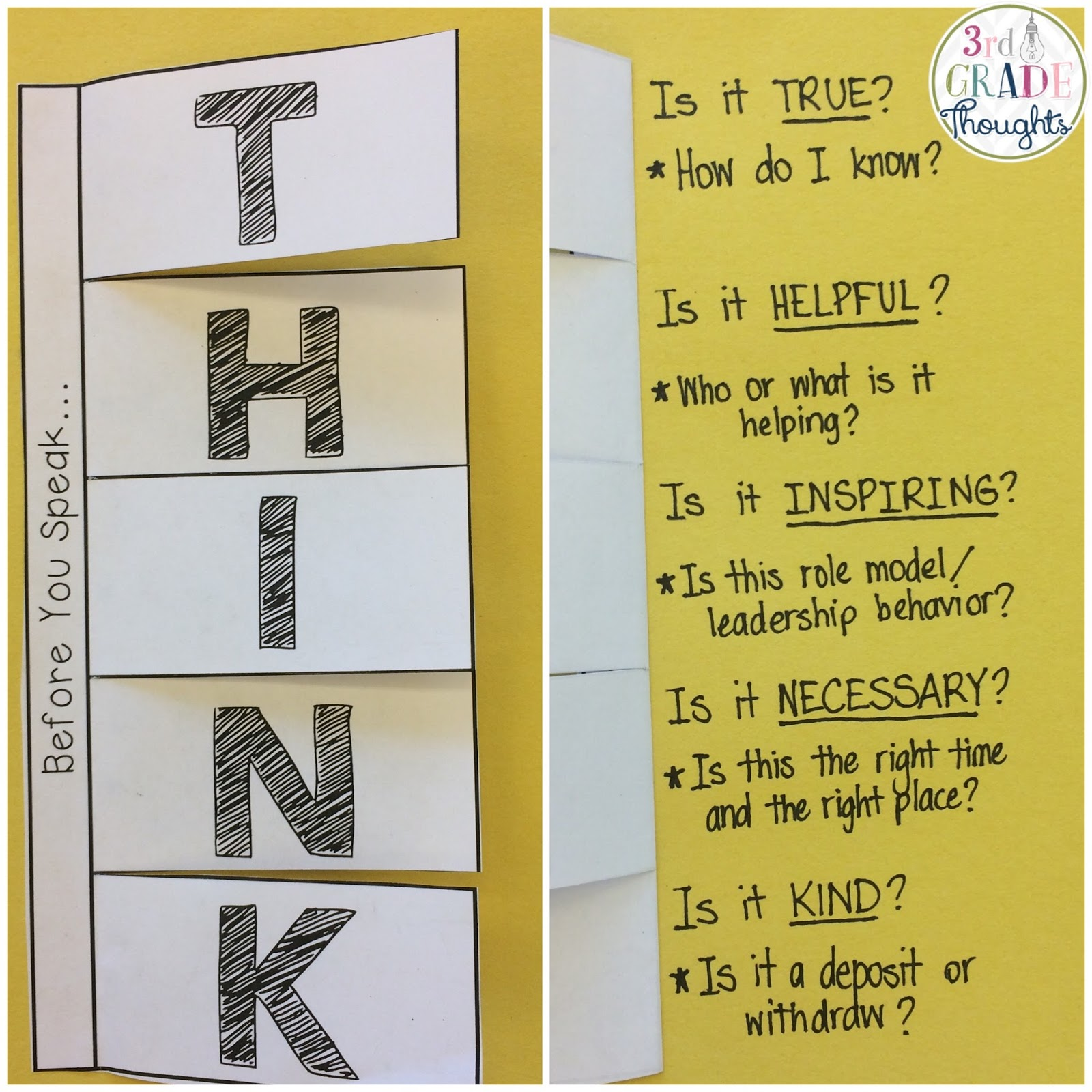 3rd Grade Thoughts Before You Speak Think Activity