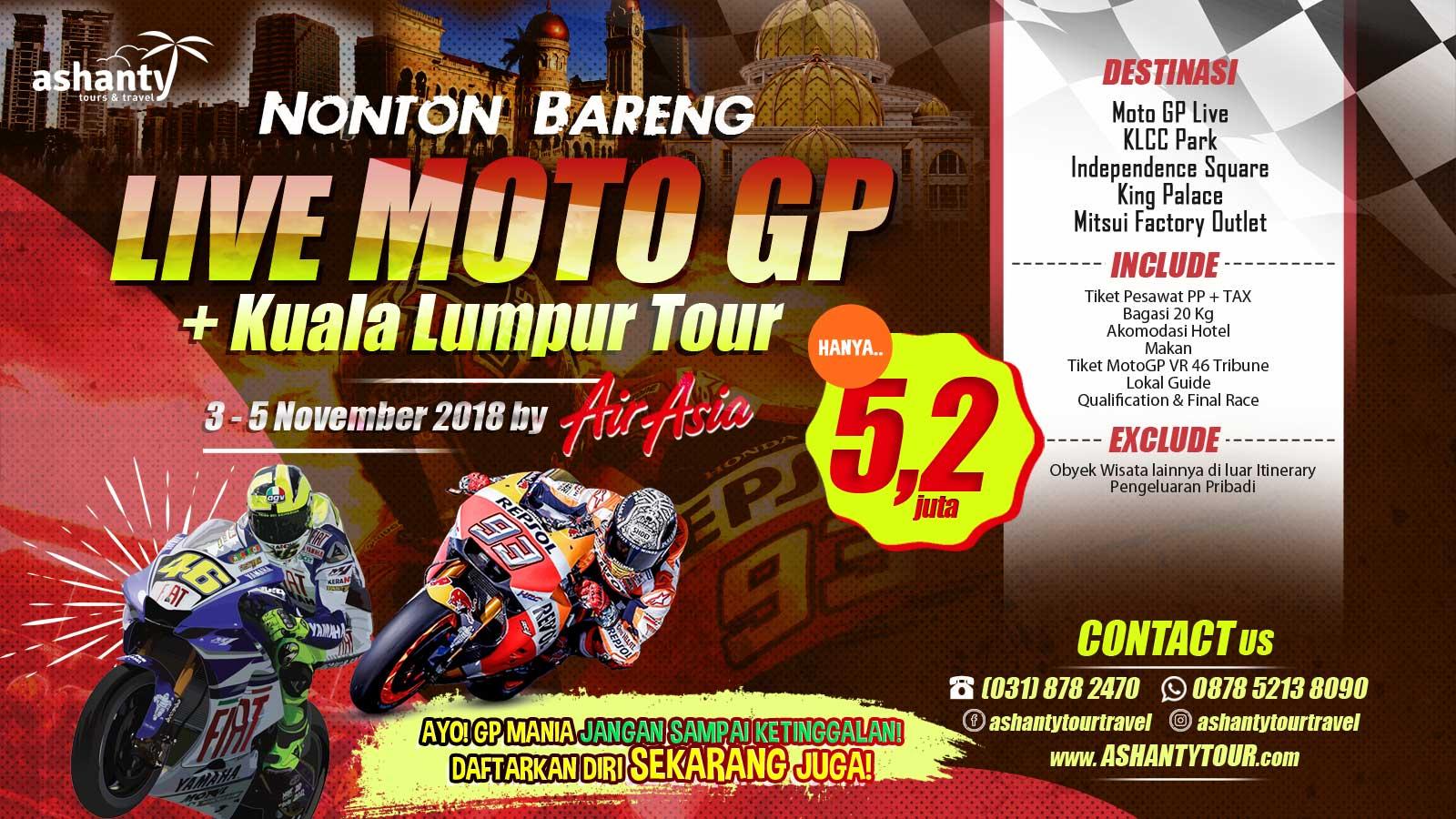 paket tour nonton motogp di sepang malaysia 2018
