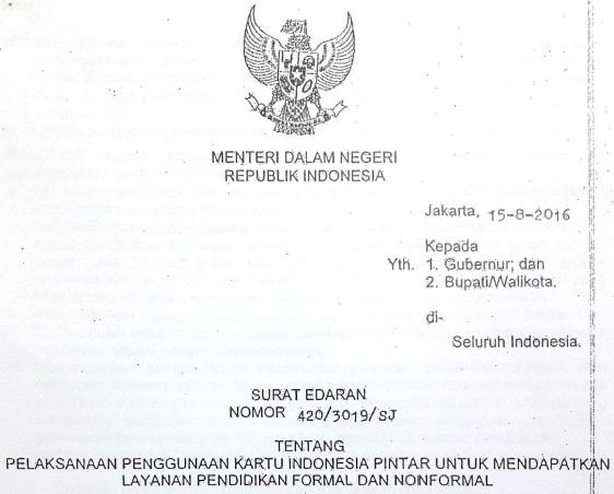 Demi suksesnya Program Indonesia Pintar  Download Surat Edaran Mendagri Tentang Pelaksanaan KIP untuk Mendapatkan Layanan Pendidikan Formal dan Nonformal