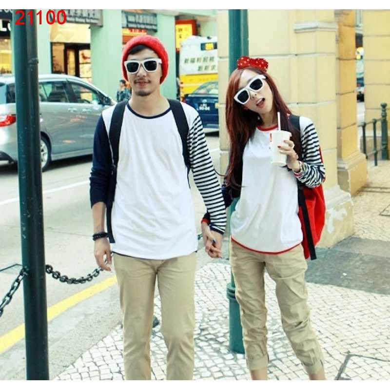 Jual Couple Lengan Panjang Single Tone and Stripes - 21100