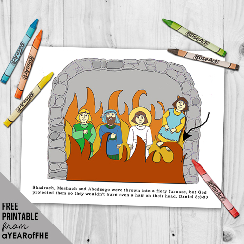A Year of FHE // a free printable craft/activity about how to be VALIANT like Shadrack, Meshach, and Abednago for young children. #lds #bible #printable