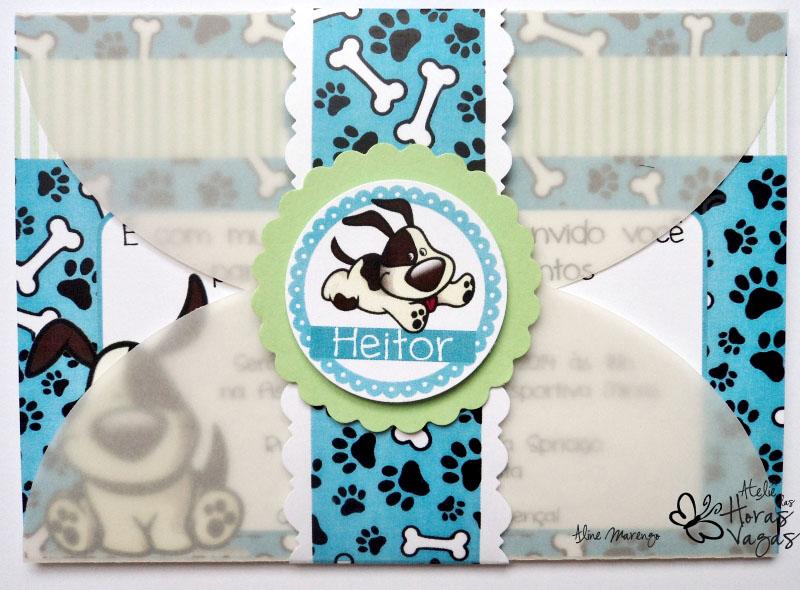convite aniversário infantil menino cachorro cachorrinho azul verde 1 aninho