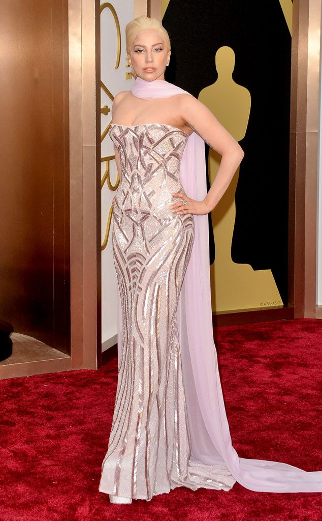 Lady Gaga in a gorgeous metallic Versace Couture gown at the Oscars 2014